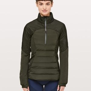 Lululemon down for it all pullover olive green